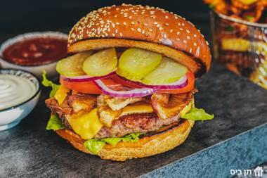 בייקון צ'יזבורגר 160 ג', המבורגר על הפלאנצ'ה, בייקון כשר (חזה טלה ),...